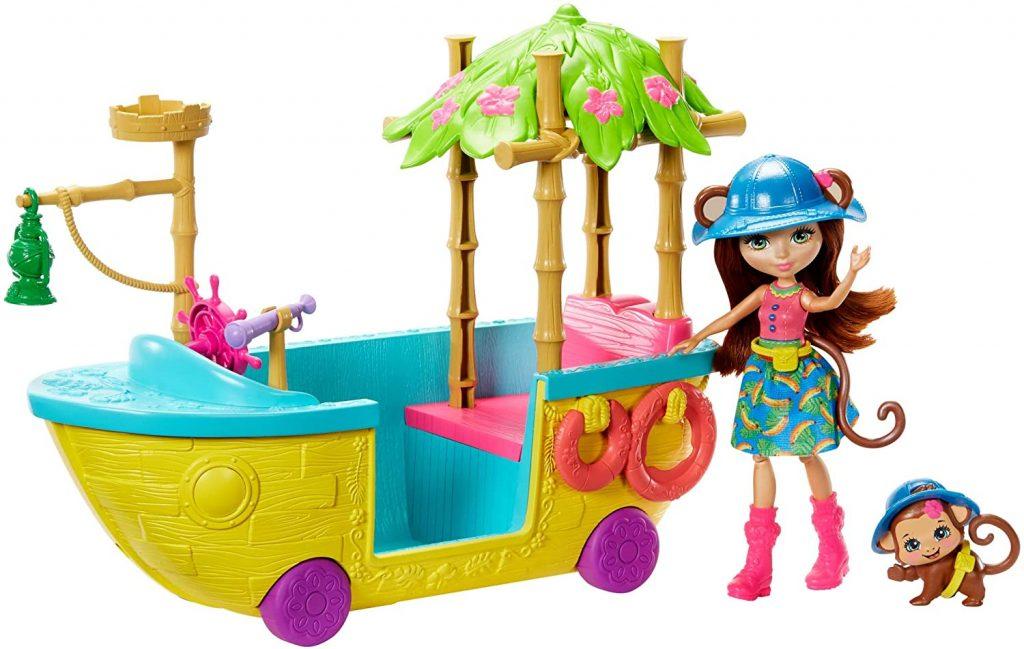 Enchantimals Coffret Bateau d'Exploratrice à roulettes, Mini-poupée Merit Singe