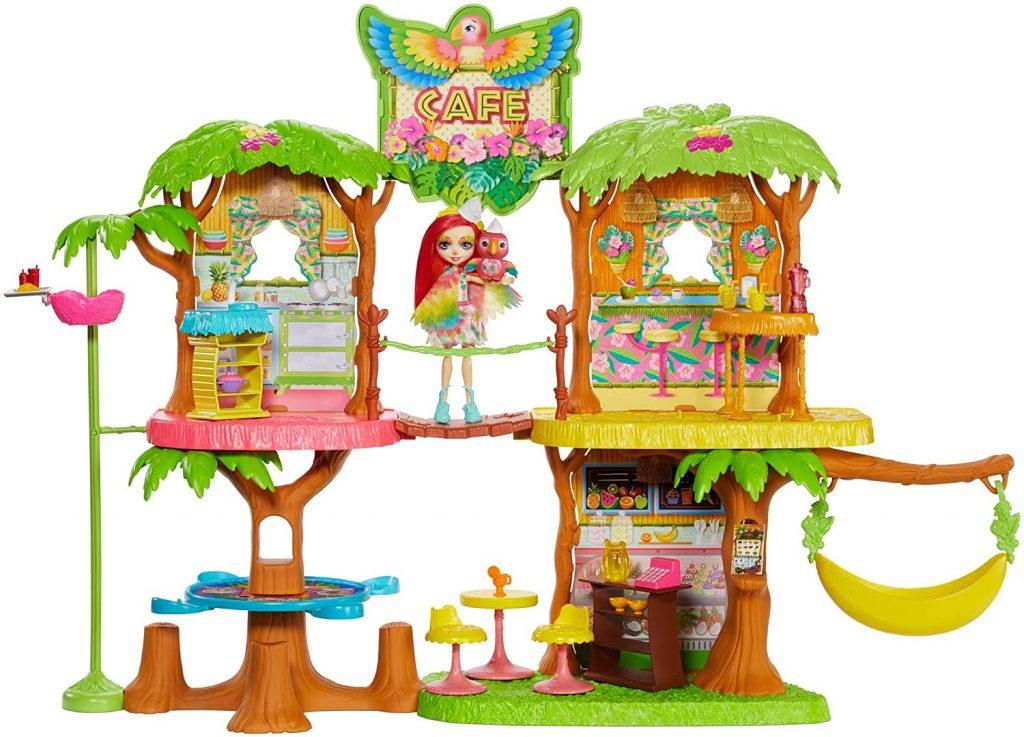 Enchantimals Coffret Maison Café Jungle Enchantée, Mini-poupée Peeki Perroquet, Figurine Animale Sheeny, balançoire et accessoires