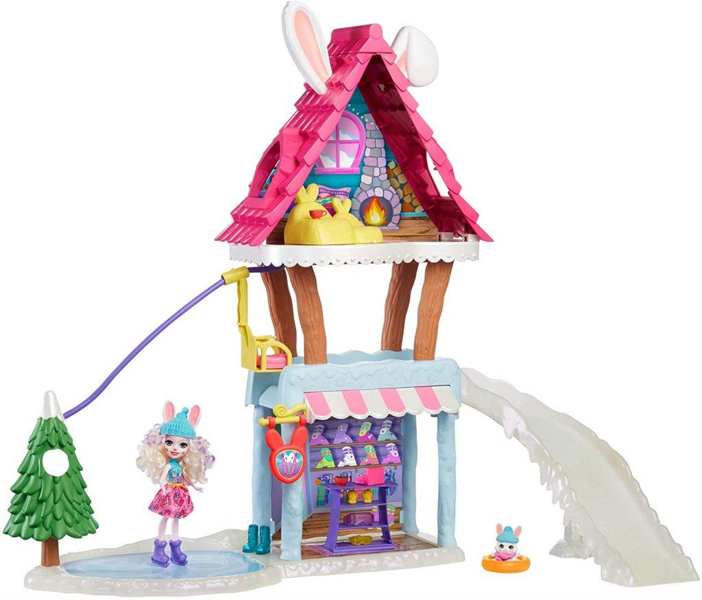 Enchantimals coffret Chalet des Neiges de Bevy Lapin, mini-poupée, figurine animale Jump, 5 espaces de jeu