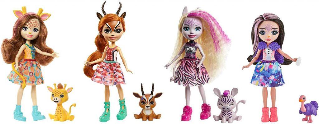 Enchantimals coffret Savane Ensoleillée 4 mini-poupées Griselda, Gabriela, Zadie, Ofelia et leurs figurines animales